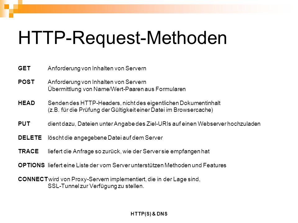 HTTP(S) & DNS HTTP-Request-Methoden GET Anforderung von Inhalten von Servern POST Anforderung von Inhalten von Servern Übermittlung von Name/Wert-Paar