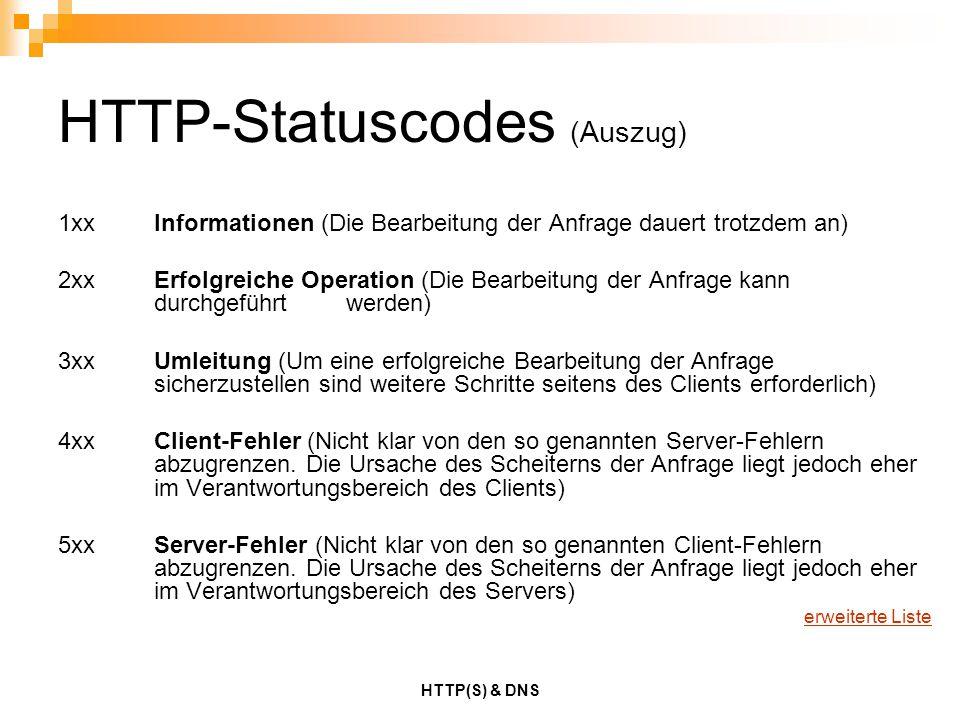 HTTP(S) & DNS HTTP-Statuscodes (Auszug) 1xxInformationen (Die Bearbeitung der Anfrage dauert trotzdem an) 2xxErfolgreiche Operation (Die Bearbeitung d