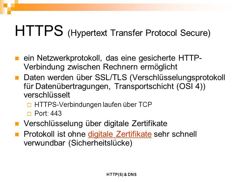 HTTP(S) & DNS HTTPS (Hypertext Transfer Protocol Secure) ein Netzwerkprotokoll, das eine gesicherte HTTP- Verbindung zwischen Rechnern ermöglicht Date