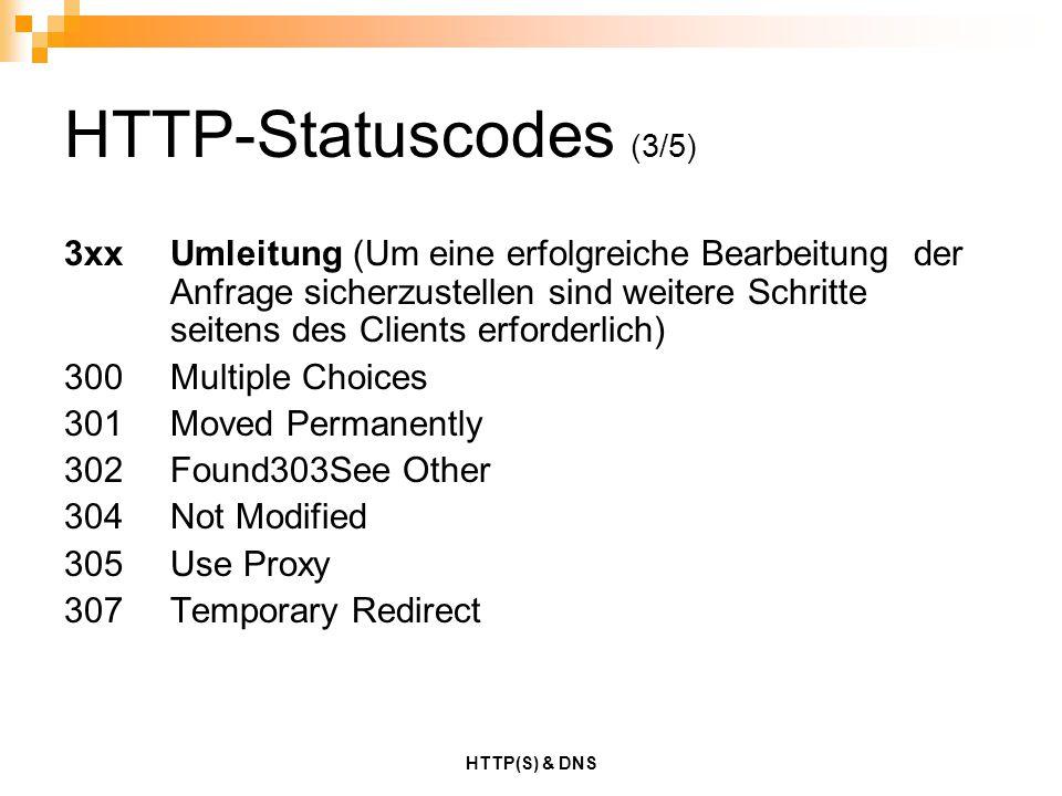 HTTP(S) & DNS HTTP-Statuscodes (3/5) 3xxUmleitung (Um eine erfolgreiche Bearbeitung der Anfrage sicherzustellen sind weitere Schritte seitens des Clie