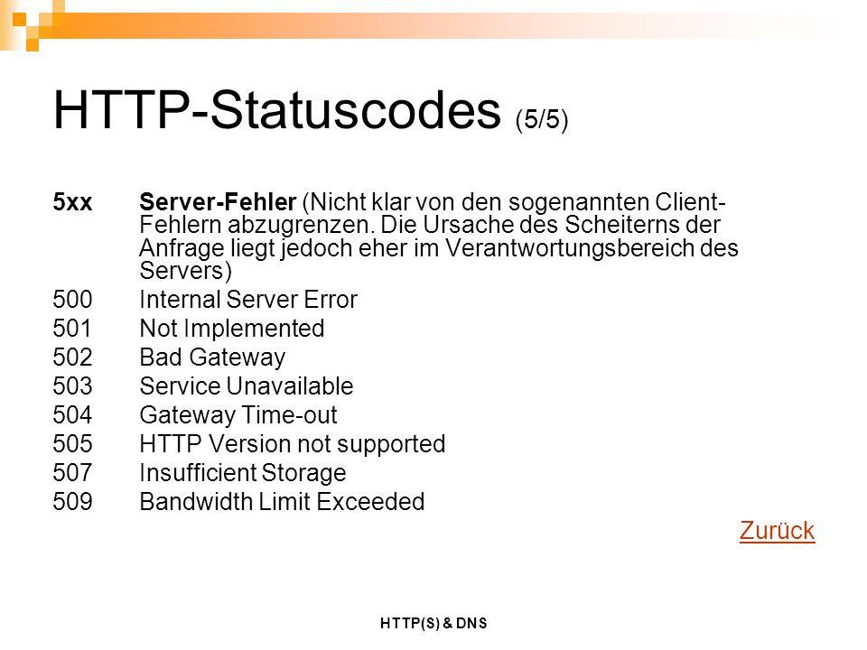 HTTP(S) & DNS HTTP-Statuscodes (5/5) 5xxServer-Fehler (Nicht klar von den sogenannten Client- Fehlern abzugrenzen. Die Ursache des Scheiterns der Anfr