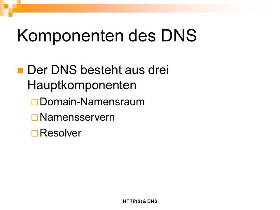 HTTP(S) & DNS Komponenten des DNS Der DNS besteht aus drei Hauptkomponenten  Domain-Namensraum  Namensservern  Resolver