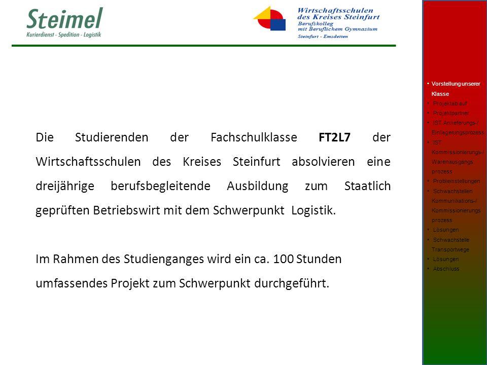 Die Studierenden der Fachschulklasse FT2L7 der Wirtschaftsschulen des Kreises Steinfurt absolvieren eine dreijährige berufsbegleitende Ausbildung zum Staatlich geprüften Betriebswirt mit dem Schwerpunkt Logistik.