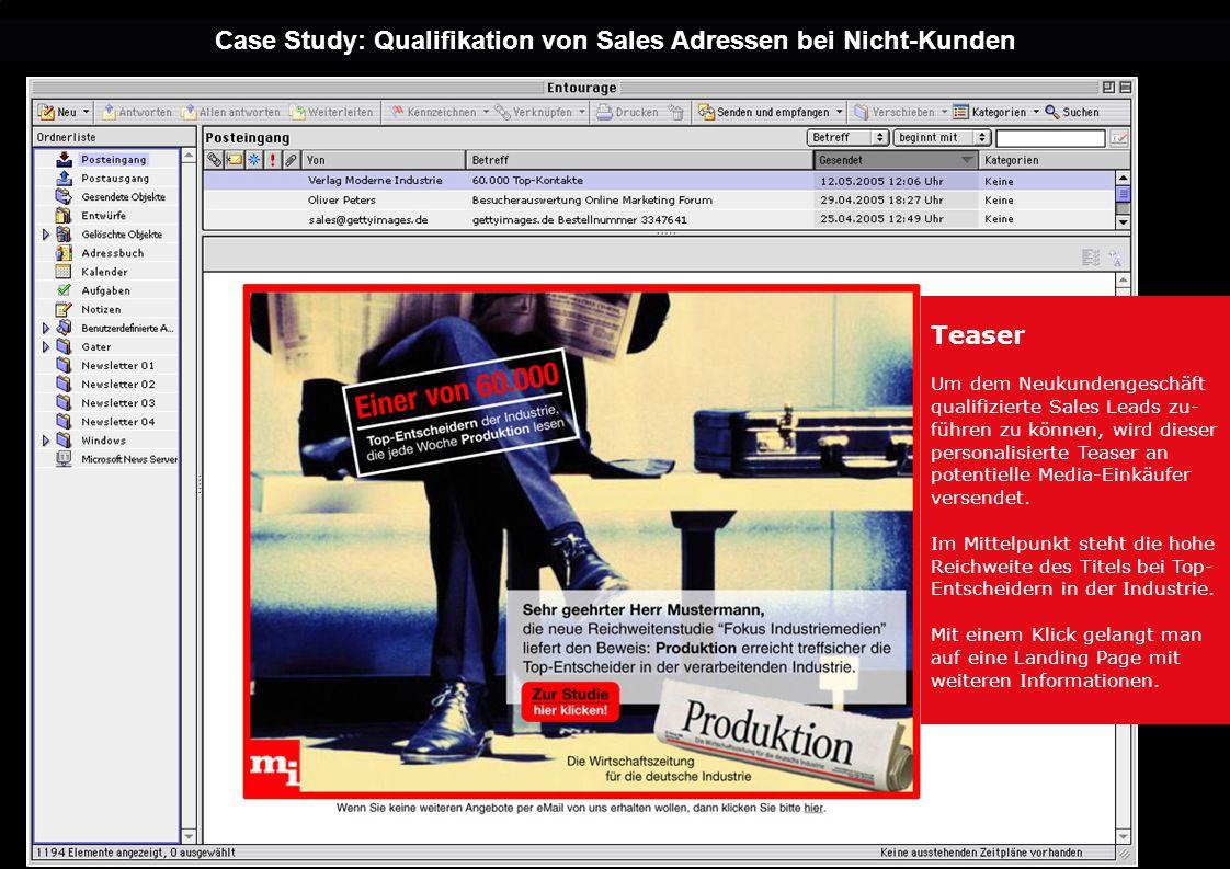 Case Study: Qualifikation von Sales Adressen bei Nicht-Kunden Teaser Um dem Neukundengeschäft qualifizierte Sales Leads zu- führen zu können, wird dieser personalisierte Teaser an potentielle Media-Einkäufer versendet.