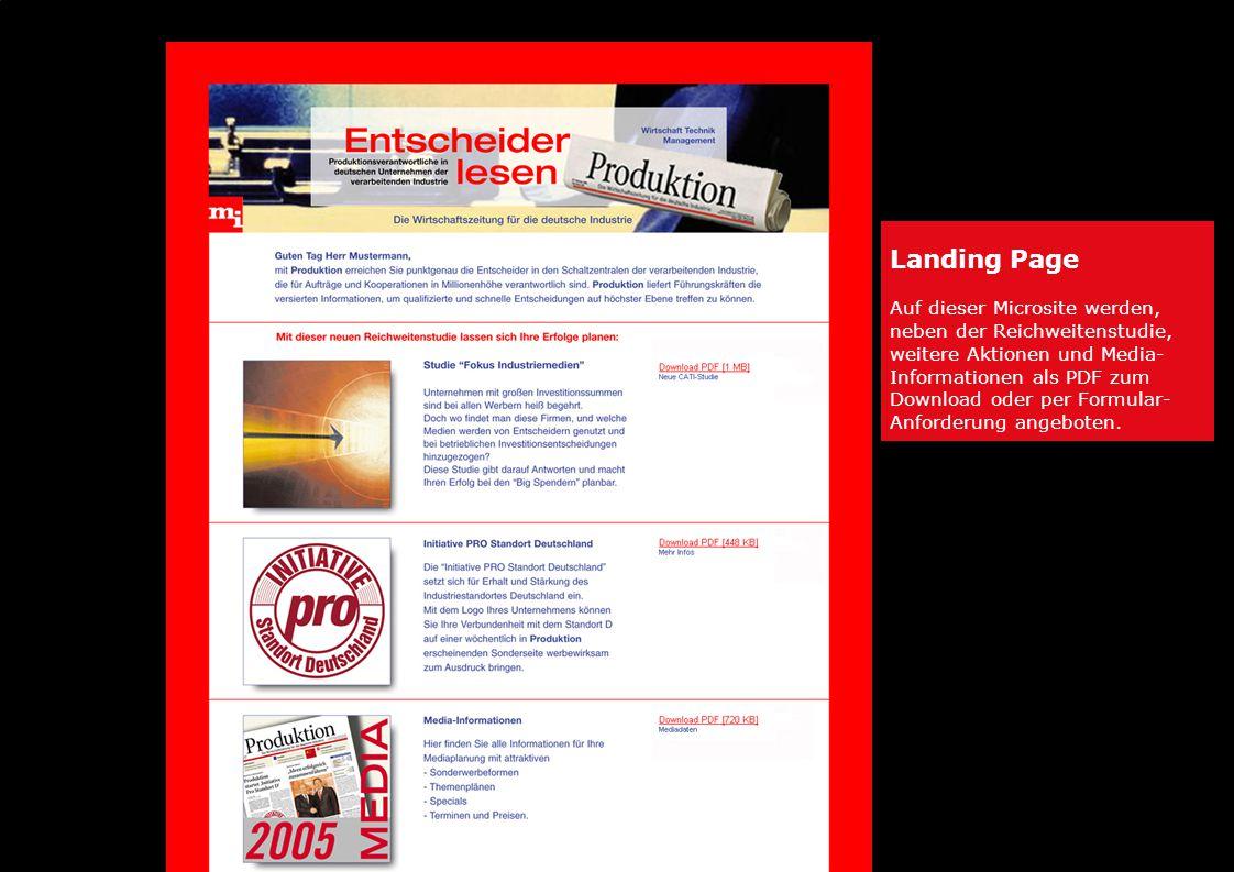 Landing Page Auf dieser Microsite werden, neben der Reichweitenstudie, weitere Aktionen und Media- Informationen als PDF zum Download oder per Formular- Anforderung angeboten.