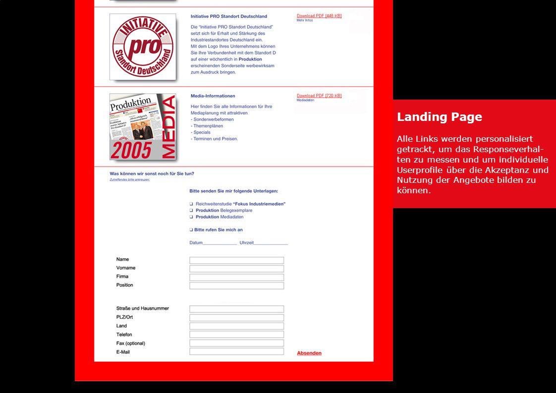 Landing Page Alle Links werden personalisiert getrackt, um das Responseverhal- ten zu messen und um individuelle Userprofile über die Akzeptanz und Nutzung der Angebote bilden zu können.