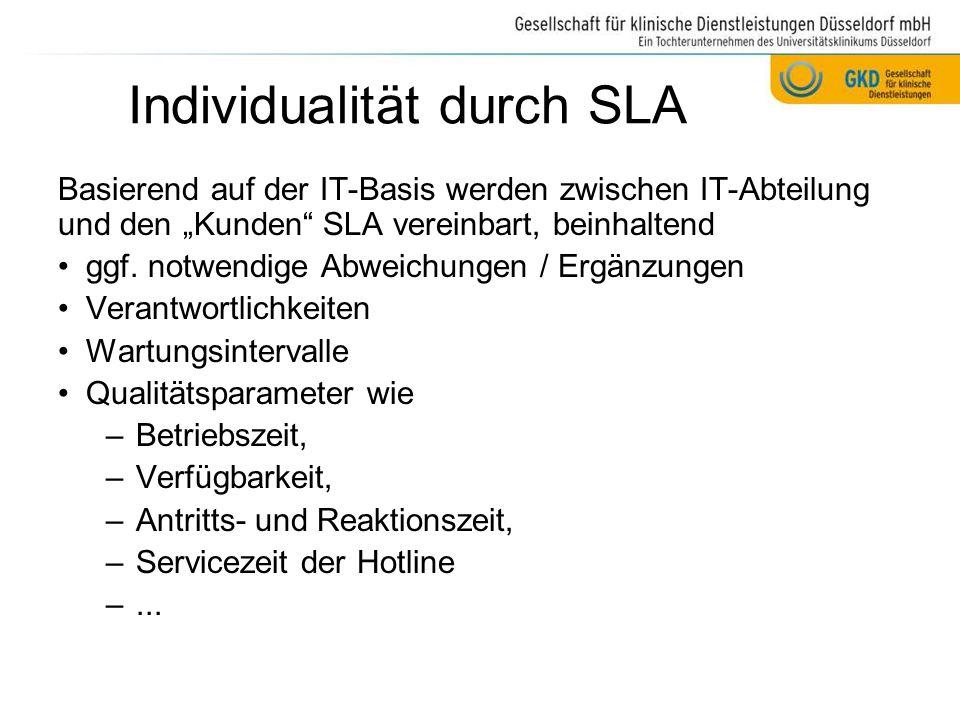 """Individualität durch SLA Basierend auf der IT-Basis werden zwischen IT-Abteilung und den """"Kunden"""" SLA vereinbart, beinhaltend ggf. notwendige Abweichu"""