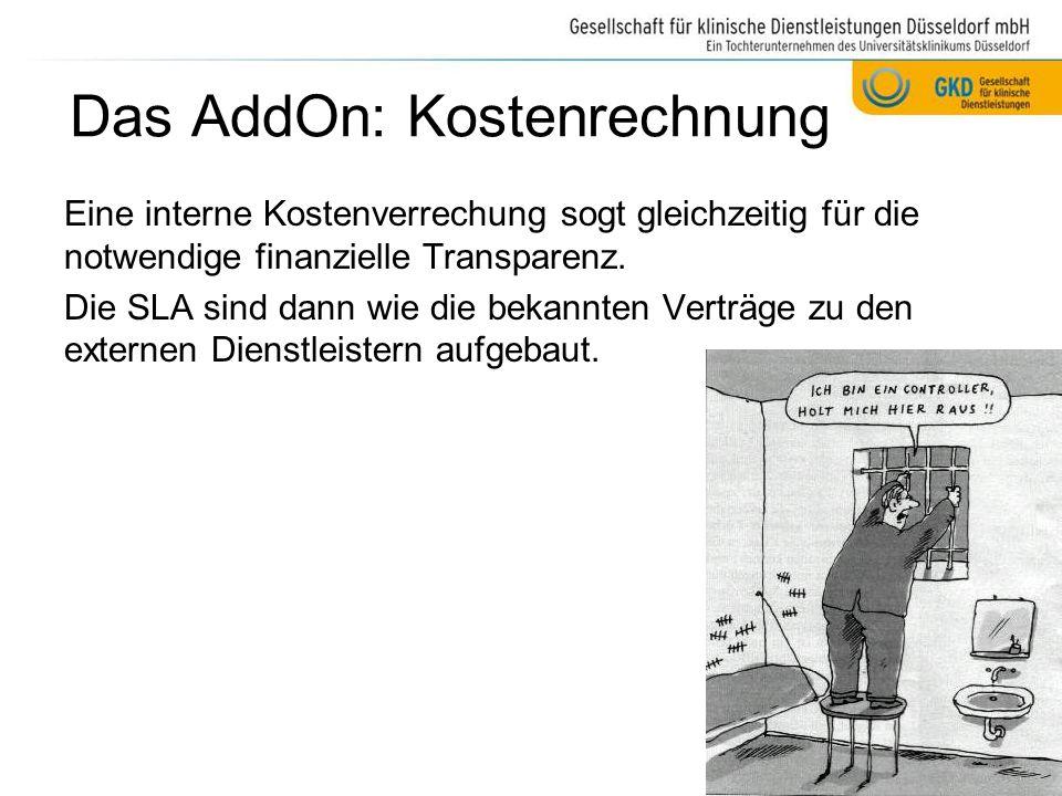 Das AddOn: Kostenrechnung Eine interne Kostenverrechung sogt gleichzeitig für die notwendige finanzielle Transparenz. Die SLA sind dann wie die bekann