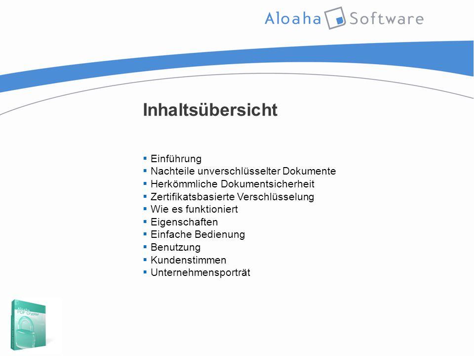 Inhaltsübersicht  Einführung  Nachteile unverschlüsselter Dokumente  Herkömmliche Dokumentsicherheit  Zertifikatsbasierte Verschlüsselung  Wie es