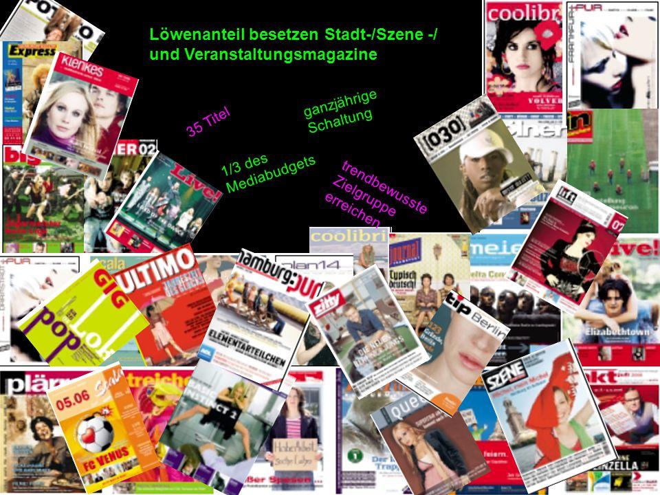 Löwenanteil besetzen Stadt-/Szene -/ und Veranstaltungsmagazine 35 Titel ganzjährige Schaltung 1/3 des Mediabudgets trendbewusste Zielgruppe erreichen