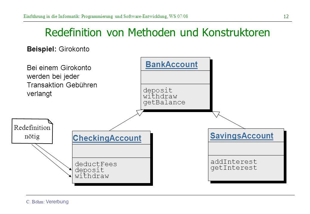 Einführung in die Informatik: Programmierung und Software-Entwicklung, WS 07/08 C. Böhm: Vererbung 12 Redefinition von Methoden und Konstruktoren Beis
