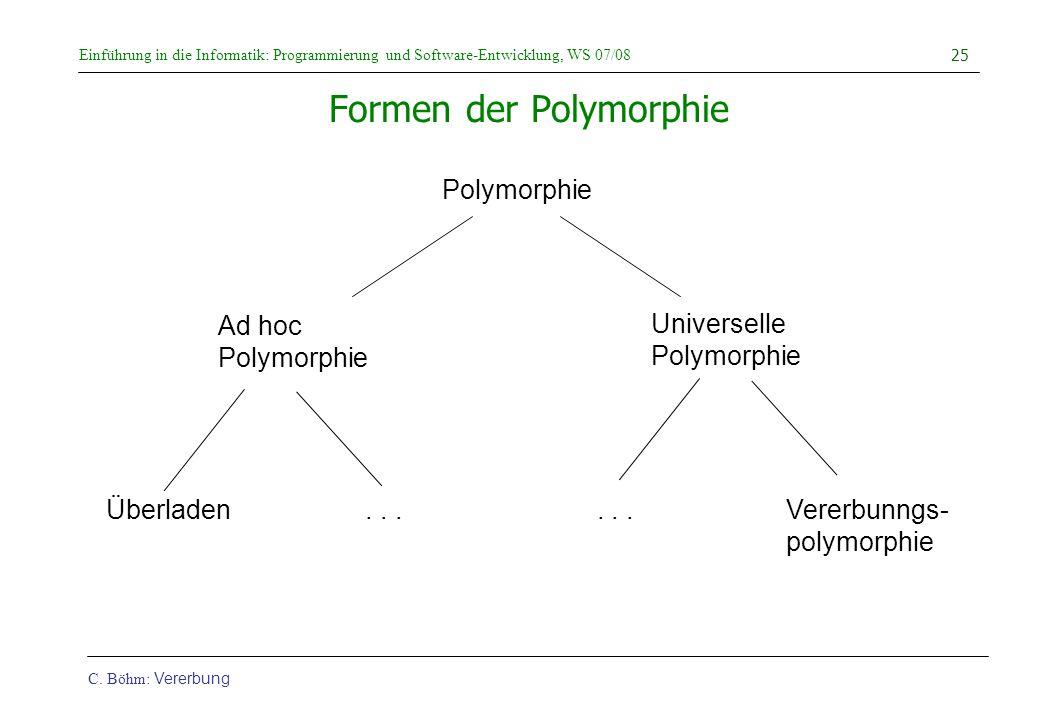 Einführung in die Informatik: Programmierung und Software-Entwicklung, WS 07/08 C. Böhm: Vererbung 25 Formen der Polymorphie Polymorphie Ad hoc Polymo