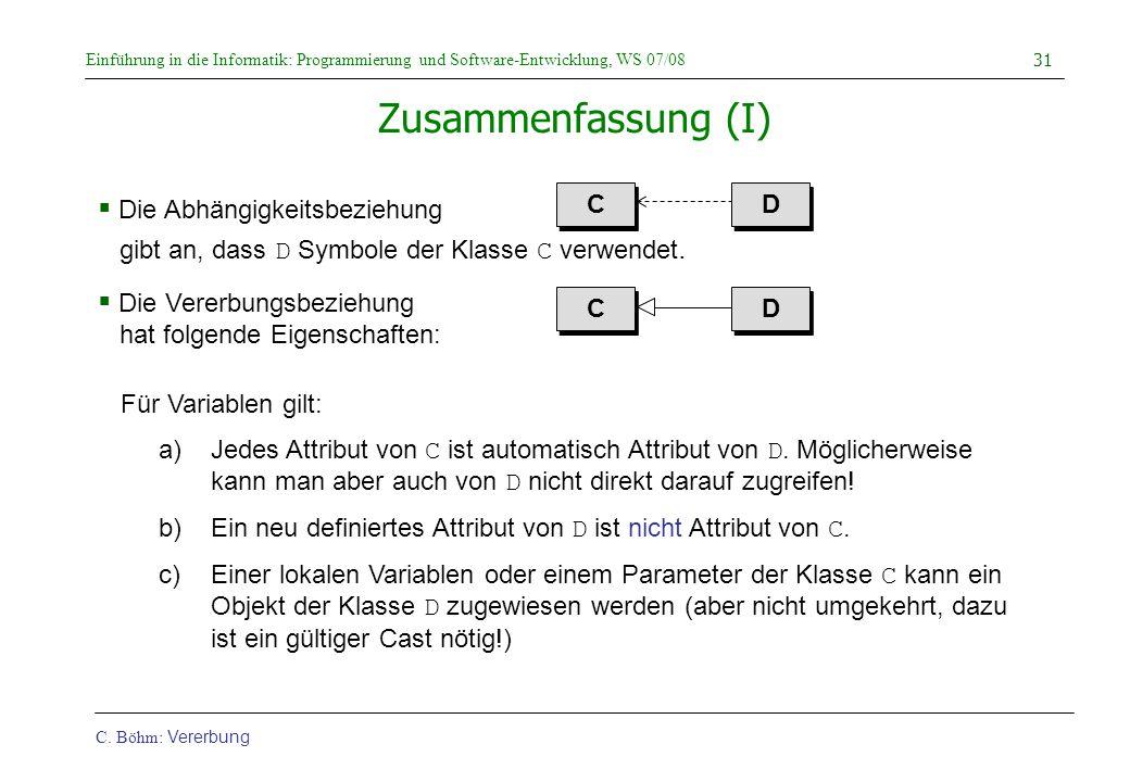 Einführung in die Informatik: Programmierung und Software-Entwicklung, WS 07/08 C. Böhm: Vererbung 31 Zusammenfassung (I)  Die Abhängigkeitsbeziehung