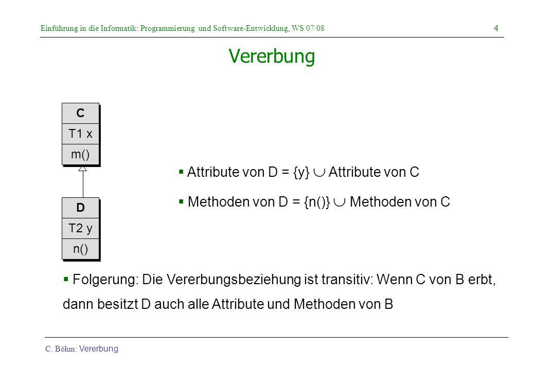 Einführung in die Informatik: Programmierung und Software-Entwicklung, WS 07/08 C. Böhm: Vererbung 4 Vererbung  Attribute von D = {y}  Attribute von