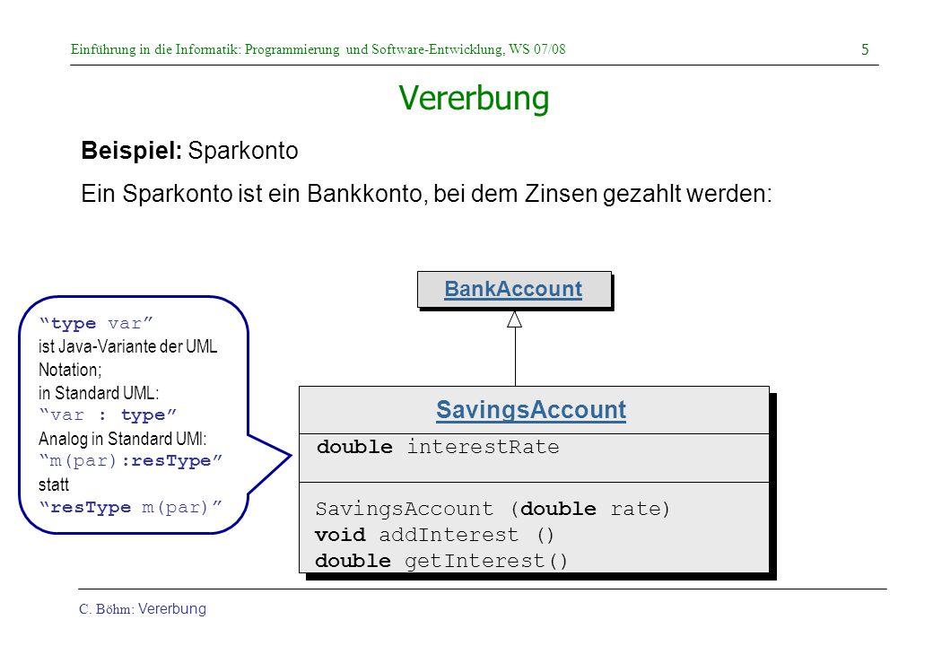 Einführung in die Informatik: Programmierung und Software-Entwicklung, WS 07/08 C. Böhm: Vererbung 5 Vererbung Beispiel: Sparkonto Ein Sparkonto ist e