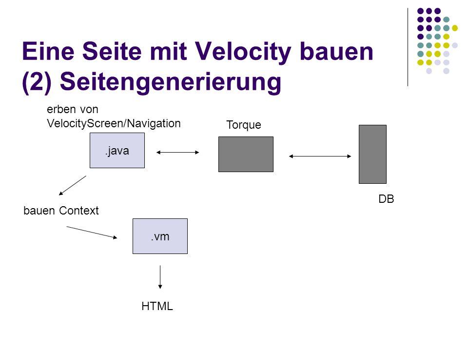 Eine Seite mit Velocity bauen (2) Seitengenerierung.java.vm bauen Context HTML Torque DB erben von VelocityScreen/Navigation