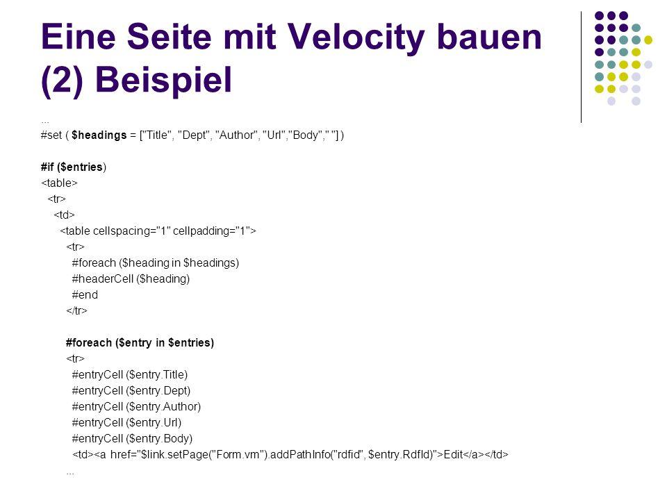 Eine Seite mit Velocity bauen (2) Beispiel... #set ( $headings = [