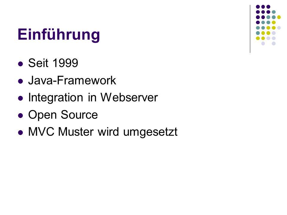 Einführung Seit 1999 Java-Framework Integration in Webserver Open Source MVC Muster wird umgesetzt