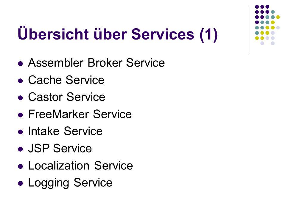Übersicht über Services (1) Assembler Broker Service Cache Service Castor Service FreeMarker Service Intake Service JSP Service Localization Service L