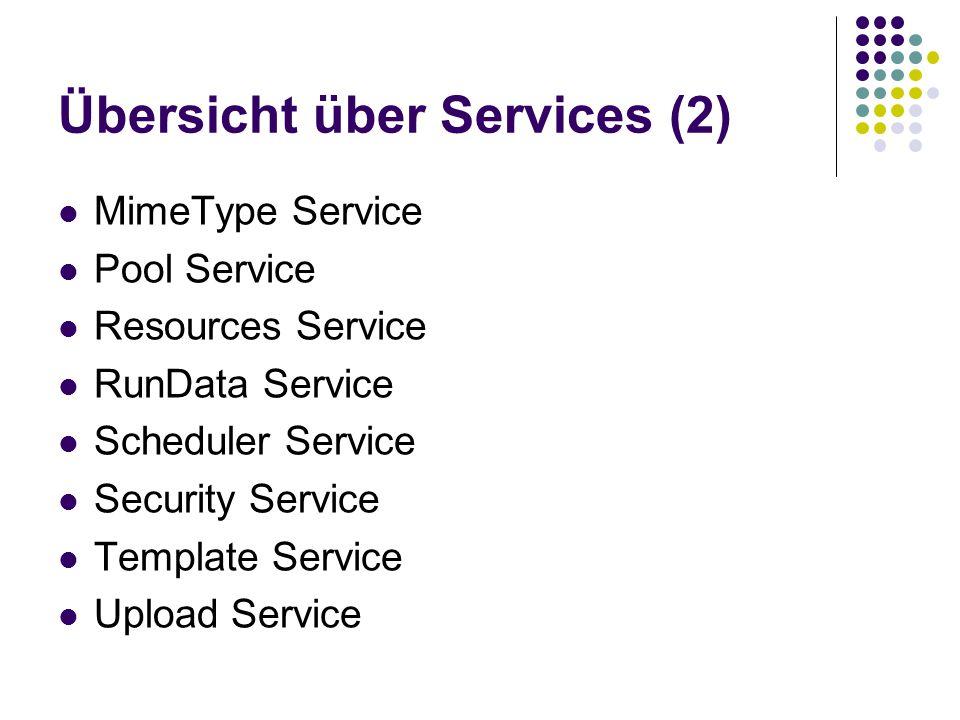 Übersicht über Services (2) MimeType Service Pool Service Resources Service RunData Service Scheduler Service Security Service Template Service Upload Service