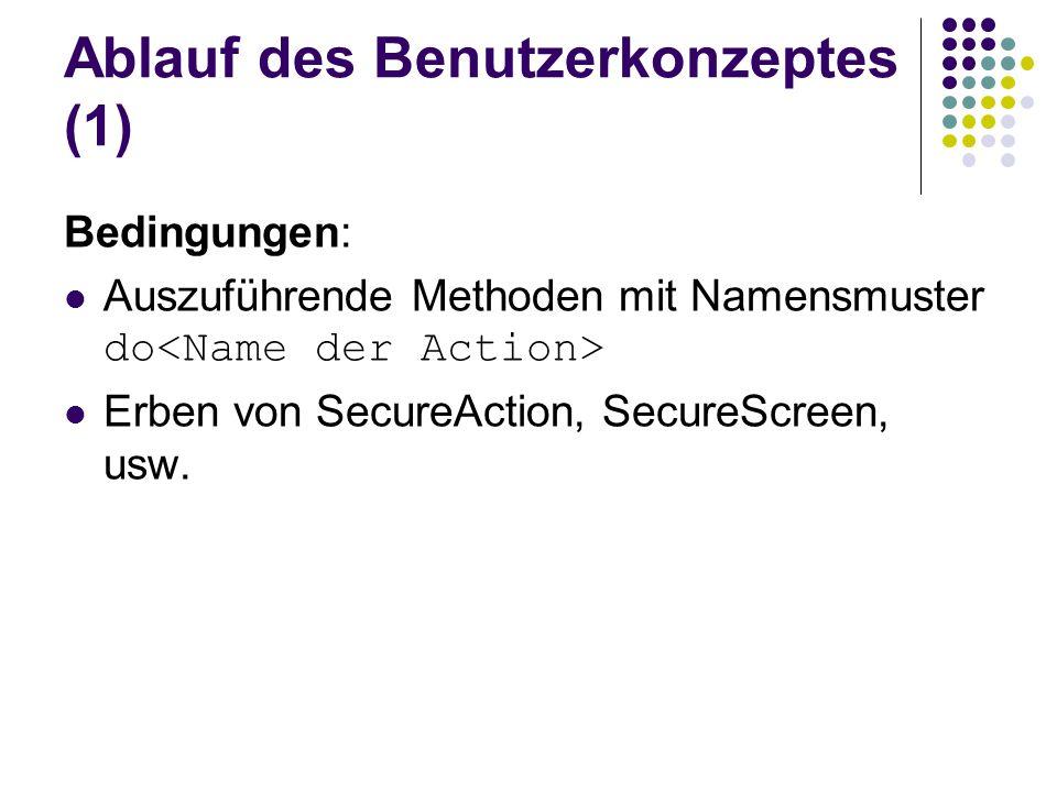 Ablauf des Benutzerkonzeptes (1) Bedingungen: Auszuführende Methoden mit Namensmuster do Erben von SecureAction, SecureScreen, usw.