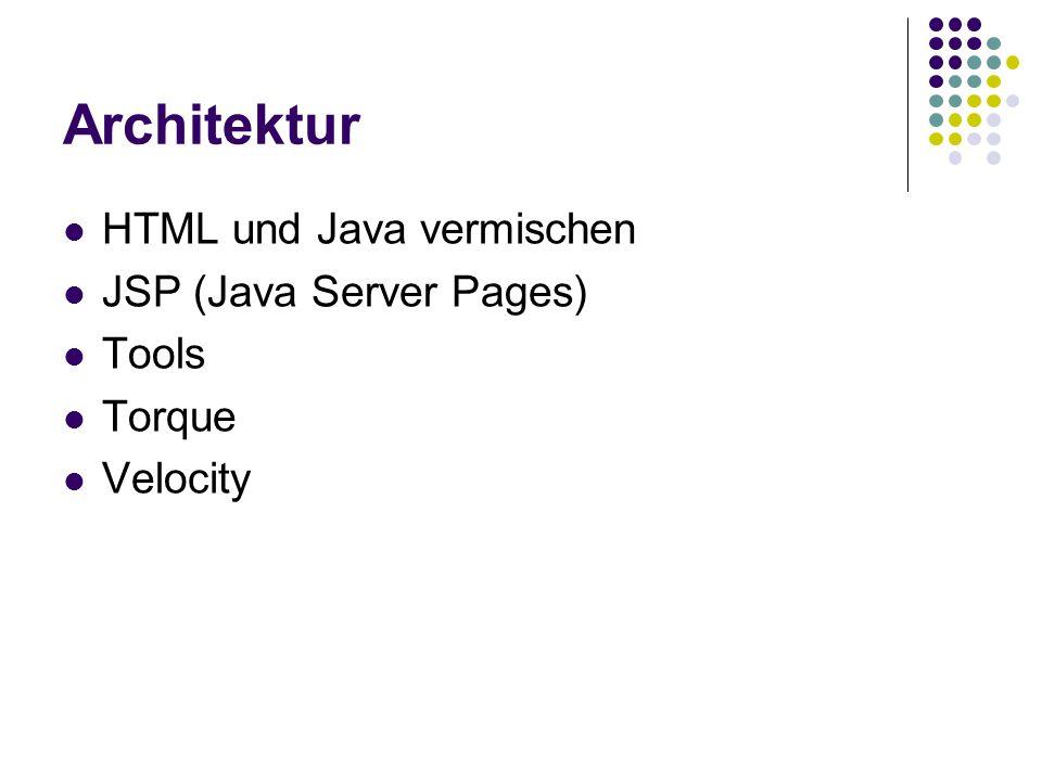 Architektur HTML und Java vermischen JSP (Java Server Pages) Tools Torque Velocity