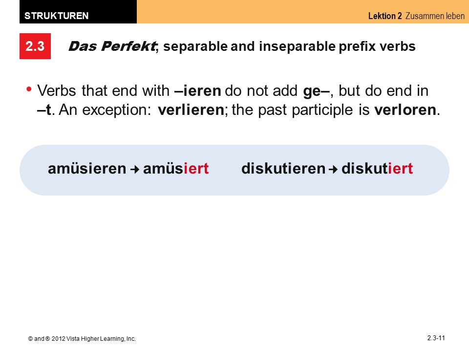 2.3 Lektion 2 Zusammen leben STRUKTUREN © and ® 2012 Vista Higher Learning, Inc. 2.3-11 Das Perfekt ; separable and inseparable prefix verbs Verbs tha