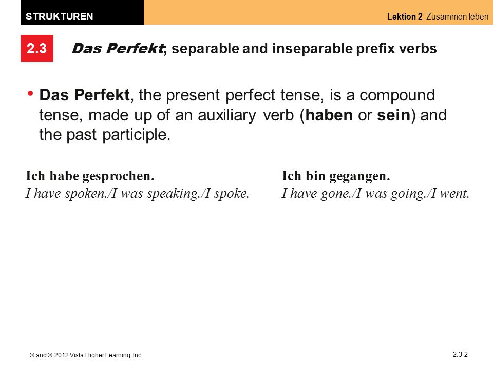 2.3 Lektion 2 Zusammen leben STRUKTUREN © and ® 2012 Vista Higher Learning, Inc. 2.3-2 Das Perfekt ; separable and inseparable prefix verbs Das Perfek