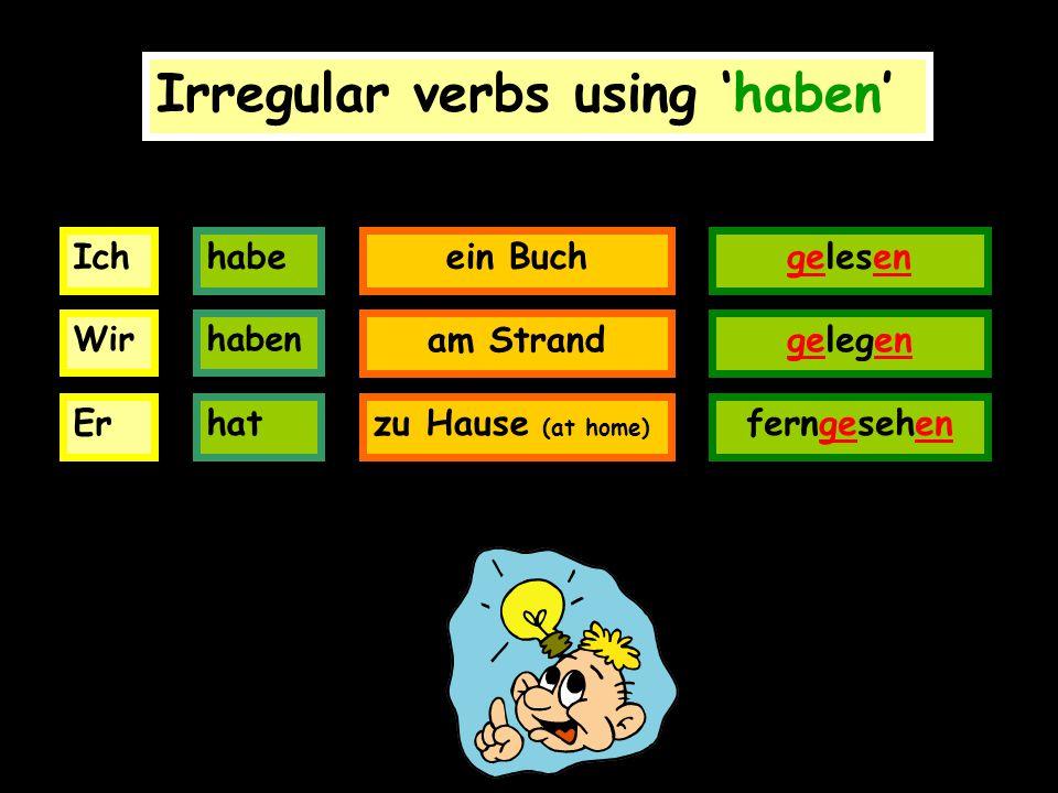 Irregular verbs using 'haben' Ichhabeein Buchgelesen Wir Er haben hat am Strand zu Hause (at home) gelegen ferngesehen