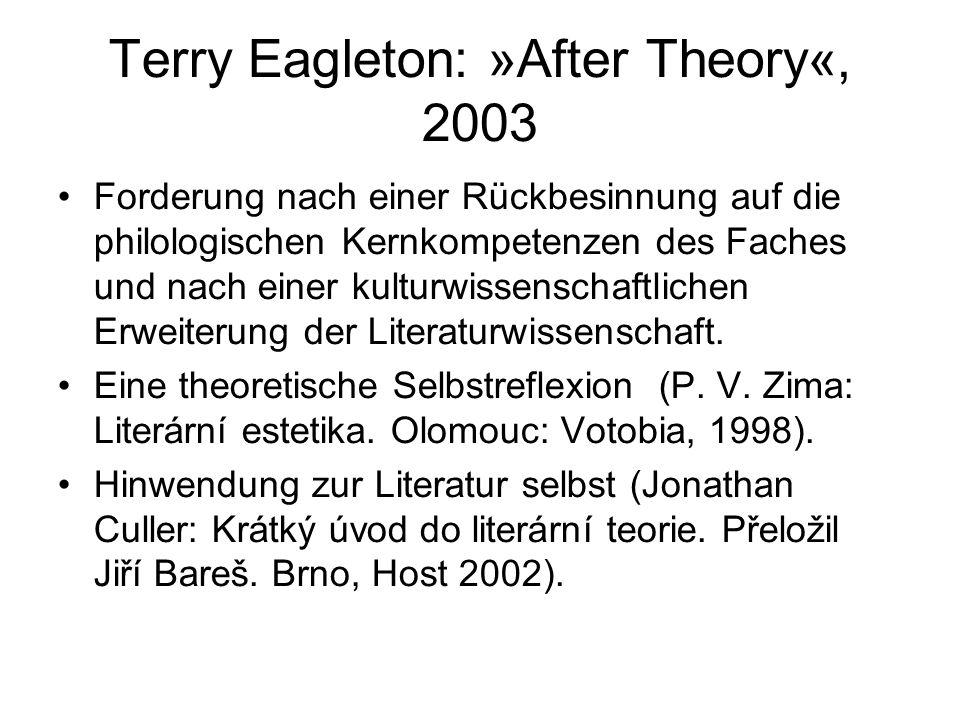 Terry Eagleton: »After Theory«, 2003 Forderung nach einer Rückbesinnung auf die philologischen Kernkompetenzen des Faches und nach einer kulturwissenschaftlichen Erweiterung der Literaturwissenschaft.