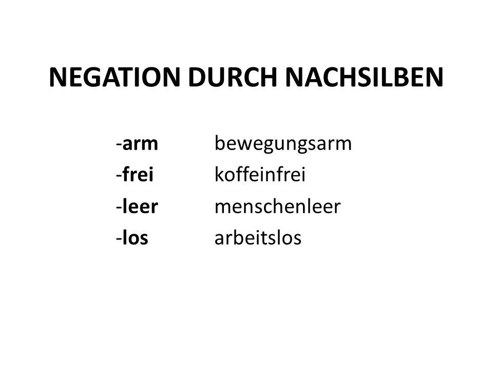 NEGATION DURCH NACHSILBEN -armbewegungsarm -freikoffeinfrei -leermenschenleer -losarbeitslos