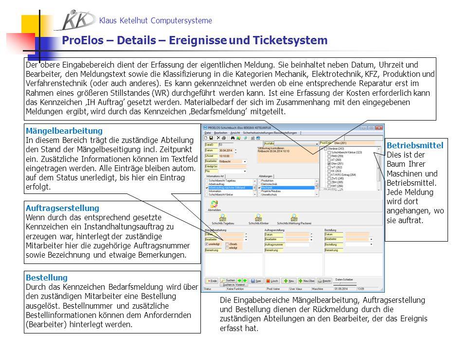 Klaus Ketelhut Computersysteme ProElos – Details – Ereignisse und Ticketsystem Die Eingabebereiche Mängelbearbeitung, Auftragserstellung und Bestellun