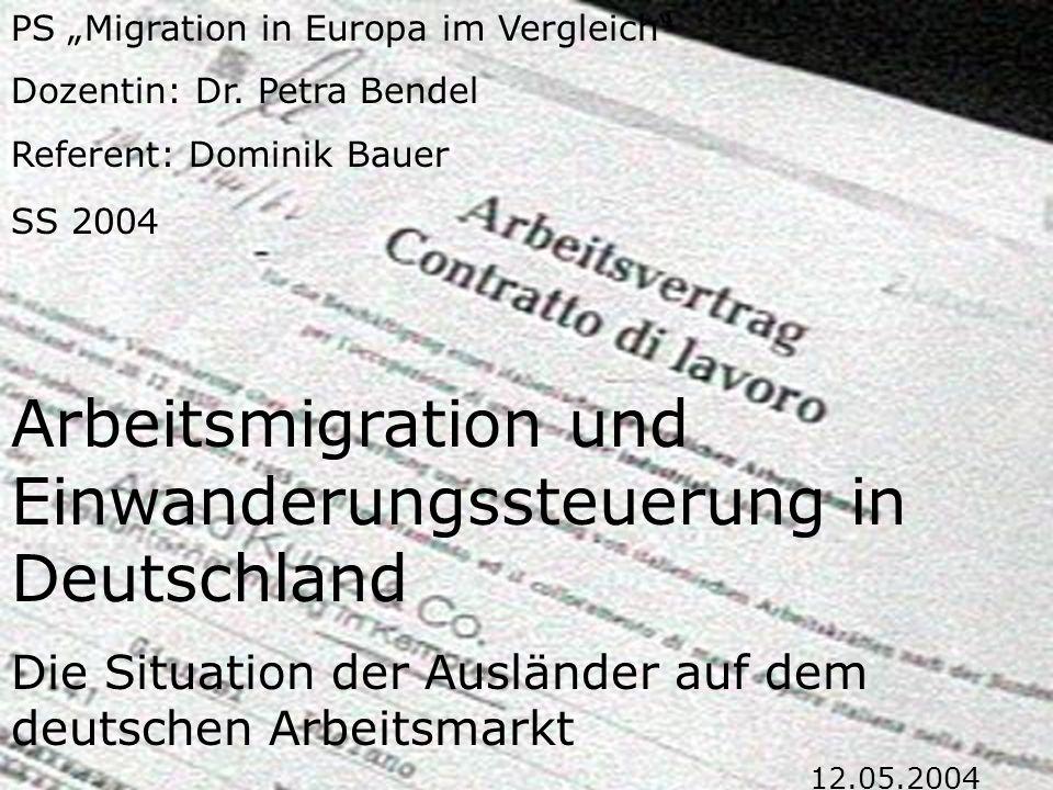 3.1 Einwanderungspolitik und Arbeitsmarkt  Gastarbeiterbestimmungen der 50er und 60er Jahre  Familiennachzug und Arbeitsplatzbeschaffung für Familienangehörige  Regelungen zur Asylrechtsfrage und zum Zugang zu Arbeit  Regelungen zur Einwanderung von Aussiedlern  Rückkehrmaßnahmen  Bilaterale Abkommen mit osteuropäischen Ländern über zeitweilige Anstellung von Arbeitern