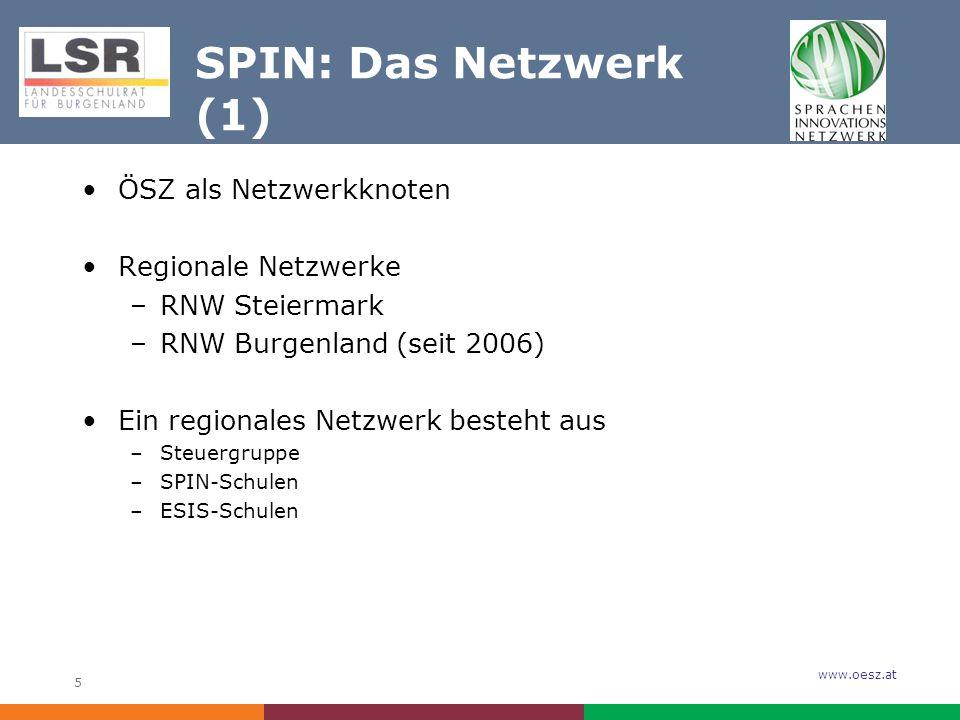 www.oesz.at 5 SPIN: Das Netzwerk (1) ÖSZ als Netzwerkknoten Regionale Netzwerke –RNW Steiermark –RNW Burgenland (seit 2006) Ein regionales Netzwerk besteht aus –Steuergruppe –SPIN-Schulen –ESIS-Schulen