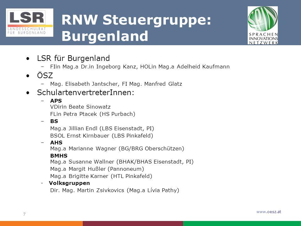 www.oesz.at 7 RNW Steuergruppe: Burgenland LSR für Burgenland –FIin Mag.a Dr.in Ingeborg Kanz, HOLin Mag.a Adelheid Kaufmann ÖSZ –Mag.