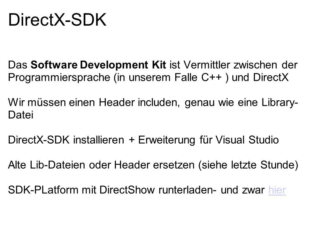 DirectX-SDK Das Software Development Kit ist Vermittler zwischen der Programmiersprache (in unserem Falle C++ ) und DirectX Wir müssen einen Header in