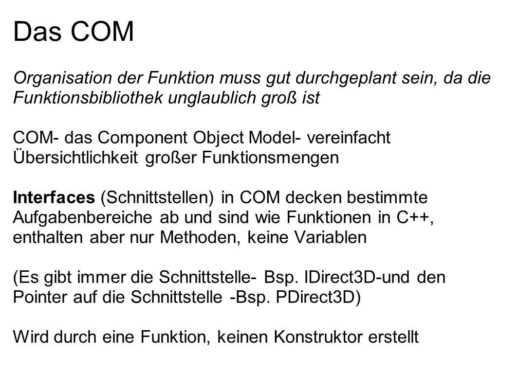 Das COM Organisation der Funktion muss gut durchgeplant sein, da die Funktionsbibliothek unglaublich groß ist COM- das Component Object Model- vereinf