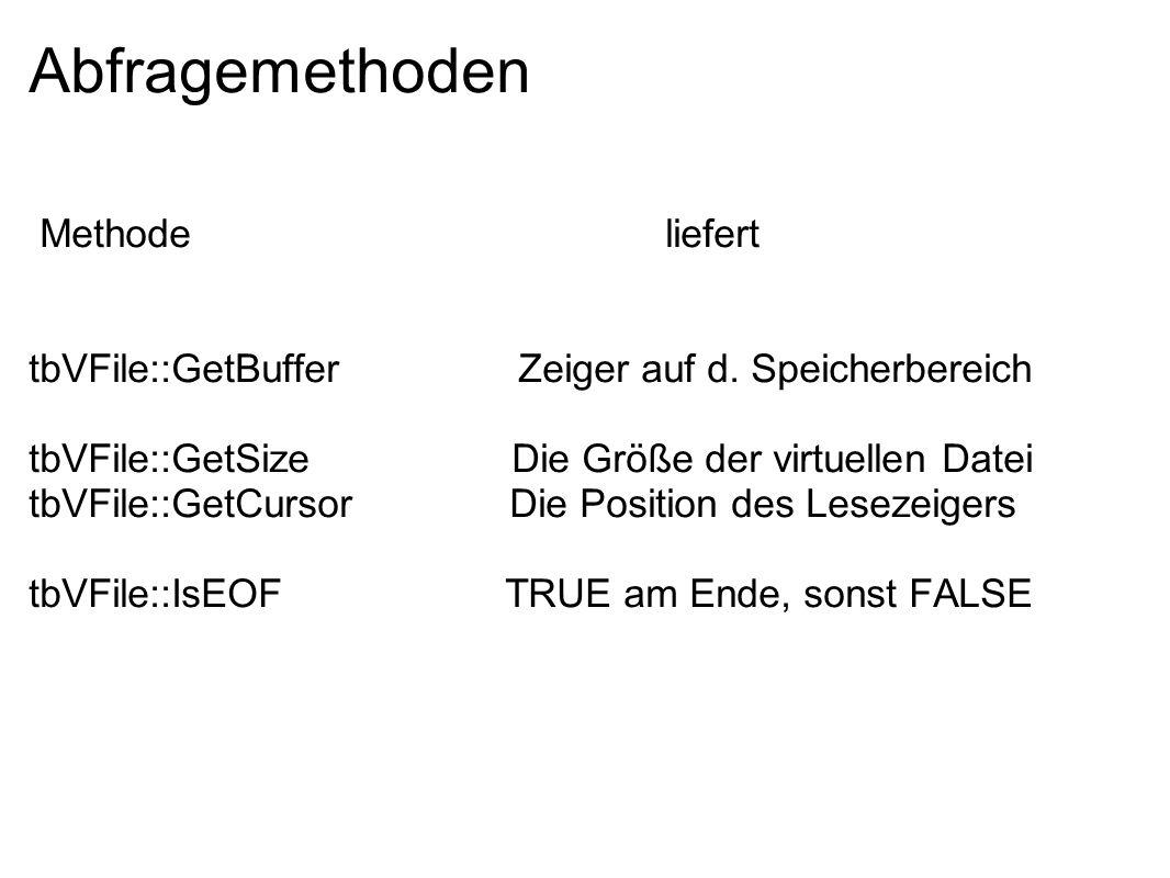 Abfragemethoden Methode liefert tbVFile::GetBuffer Zeiger auf d. Speicherbereich tbVFile::GetSize Die Größe der virtuellen Datei tbVFile::GetCursor Di