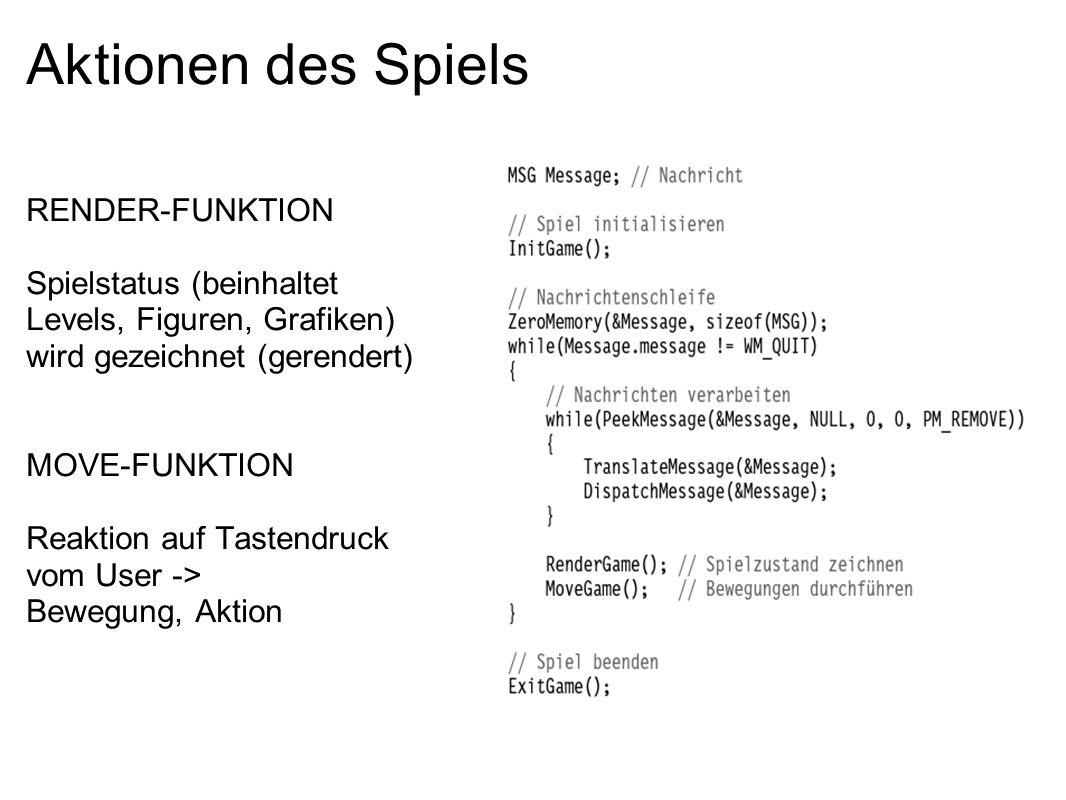 Aktionen des Spiels RENDER-FUNKTION Spielstatus (beinhaltet Levels, Figuren, Grafiken) wird gezeichnet (gerendert) MOVE-FUNKTION Reaktion auf Tastendr