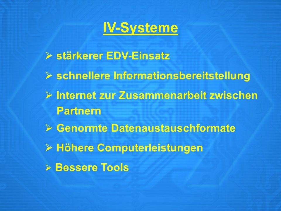 IV-Systeme  stärkerer EDV-Einsatz  schnellere Informationsbereitstellung  Internet zur Zusammenarbeit zwischen Partnern  Genormte Datenaustauschfo