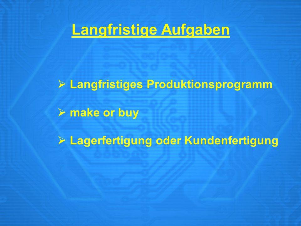  Langfristiges Produktionsprogramm  make or buy  Lagerfertigung oder Kundenfertigung Langfristige Aufgaben
