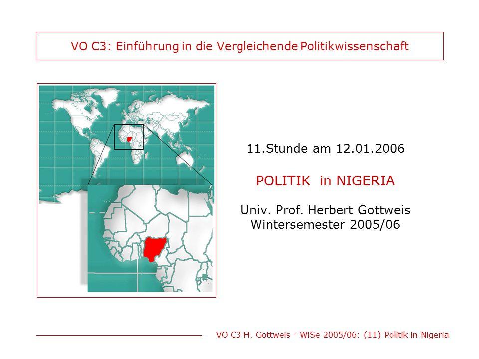 VO C3 H. Gottweis - WiSe 2005/06: (11) Politik in Nigeria VO C3: Einführung in die Vergleichende Politikwissenschaft 11.Stunde am 12.01.2006 POLITIK i