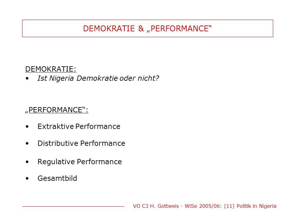 """VO C3 H. Gottweis - WiSe 2005/06: (11) Politik in Nigeria DEMOKRATIE & """"PERFORMANCE"""" DEMOKRATIE: Ist Nigeria Demokratie oder nicht? """"PERFORMANCE"""": Ext"""