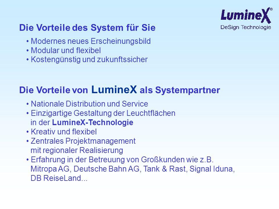 Die Vorteile des System für Sie Modernes neues Erscheinungsbild Modular und flexibel Kostengünstig und zukunftssicher Die Vorteile von LumineX als Sys