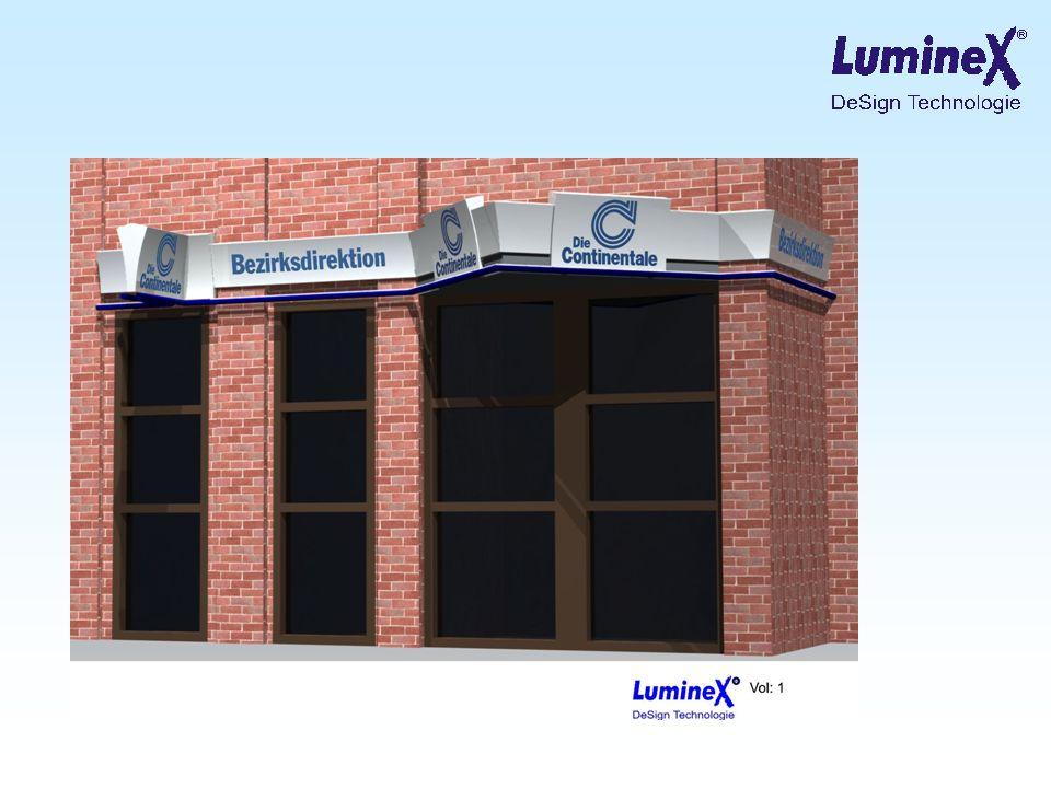 Zusätzliche Optionen hier: Keine Kantenbeleuchtung Blende aus Polycarbonat, gesamter Bereich semi opak, Beschriftung in LumineX-Technologie mit 3D Effekt