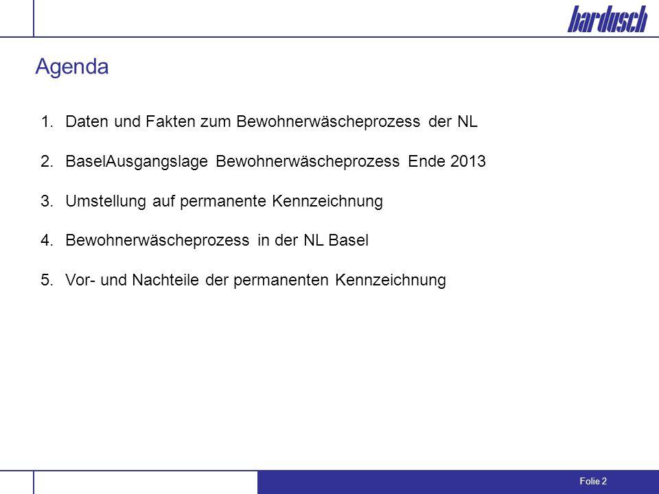 Folie 2 1.Daten und Fakten zum Bewohnerwäscheprozess der NL 2.BaselAusgangslage Bewohnerwäscheprozess Ende 2013 3.Umstellung auf permanente Kennzeichn