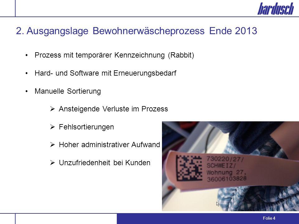 Folie 4 2. Ausgangslage Bewohnerwäscheprozess Ende 2013 Prozess mit temporärer Kennzeichnung (Rabbit) Hard- und Software mit Erneuerungsbedarf Manuell