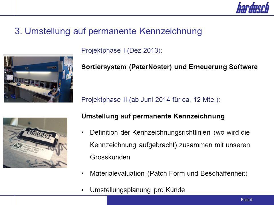 Folie 5 3. Umstellung auf permanente Kennzeichnung Projektphase I (Dez 2013): Sortiersystem (PaterNoster) und Erneuerung Software Projektphase II (ab