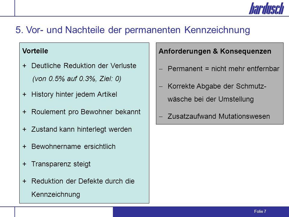 Folie 7 5. Vor- und Nachteile der permanenten Kennzeichnung Vorteile +Deutliche Reduktion der Verluste (von 0.5% auf 0.3%, Ziel: 0) +History hinter je