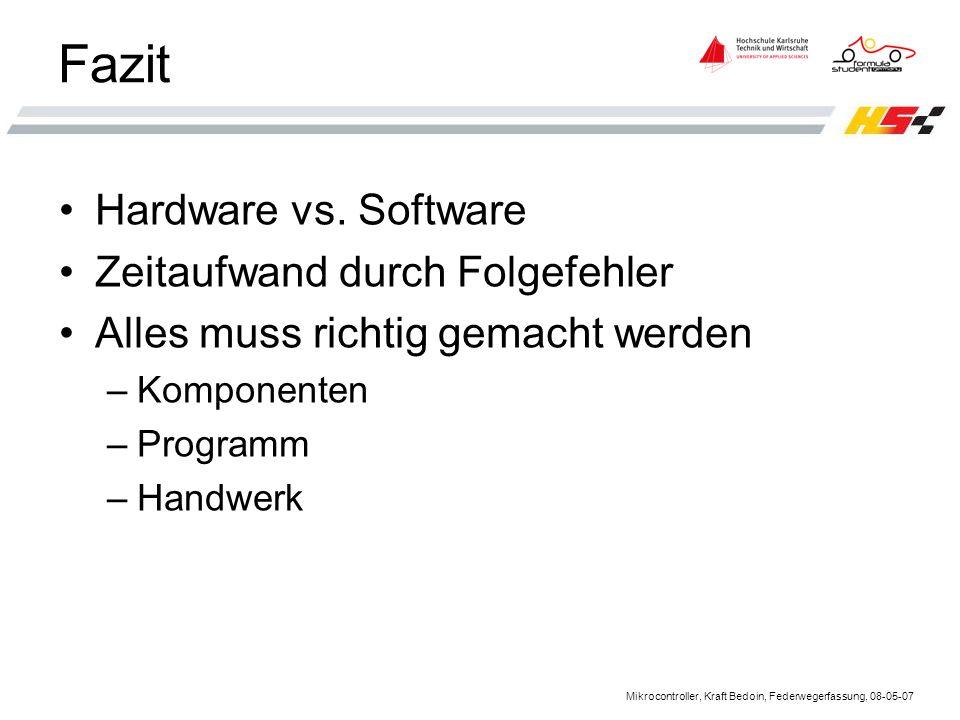 Mikrocontroller, Kraft Bedoin, Federwegerfassung, 08-05-07 Fazit Hardware vs.